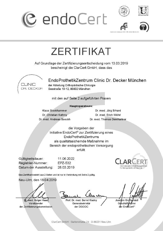 Endoprothetikzentrum Clinic Dr. Decker und Dr. Thomas Demhartner - Zertifikat-EPZ-532 Titel