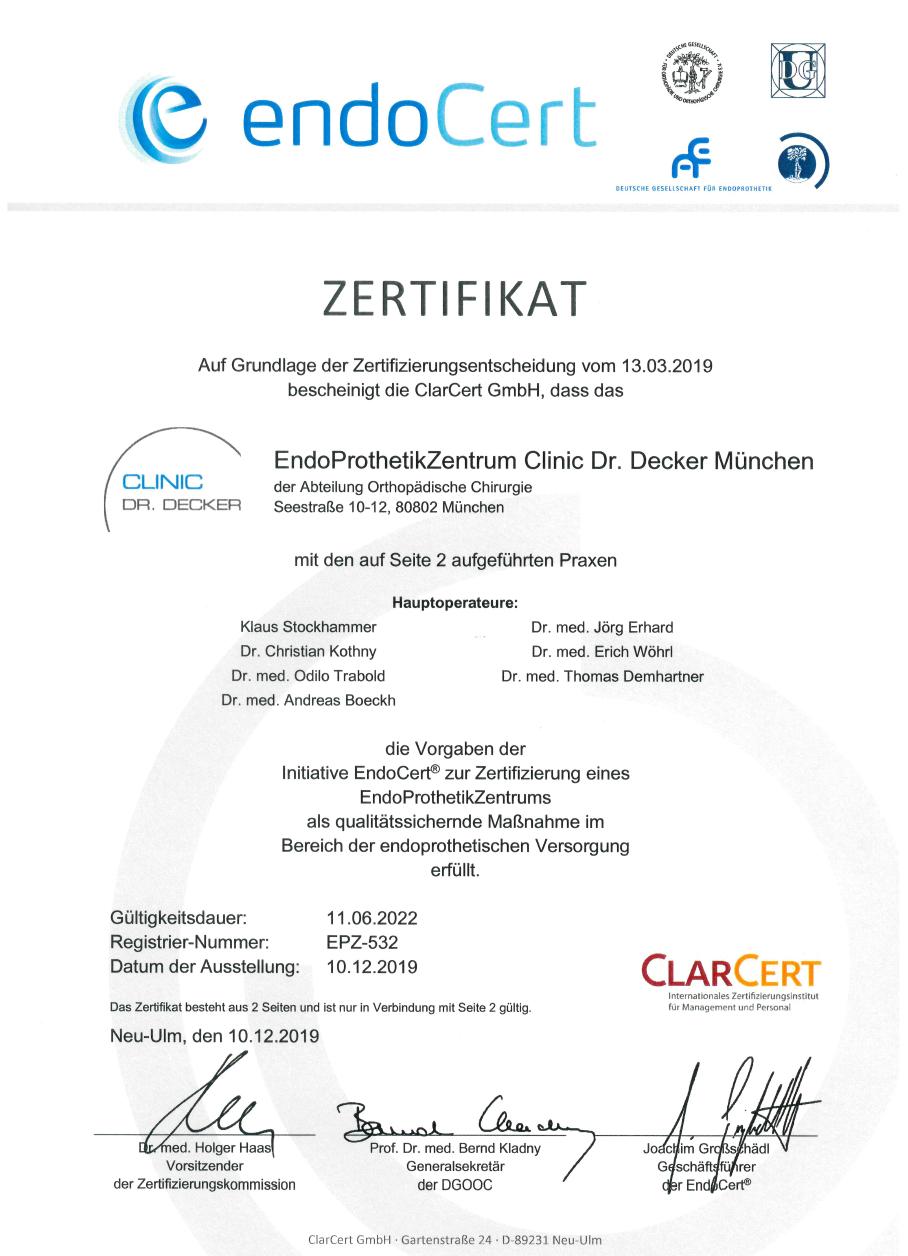 Zertifikat EndoCert EndoProthetikZentrum Kommedico Dez 2019