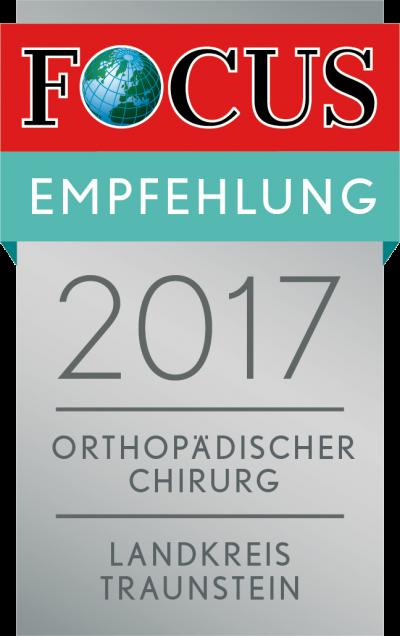 FOCUS-Empfehlungssiegel 2017 für Dr. med. Stefan Mengel - Orthopädischer Chriurg, Landkreis Traunstein