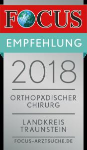 FOCUS-Empfehlungssiegel 2018 für Dr. med. Stefan Mengel - Orthopädischer Chriurg, Landkreis Traunstein
