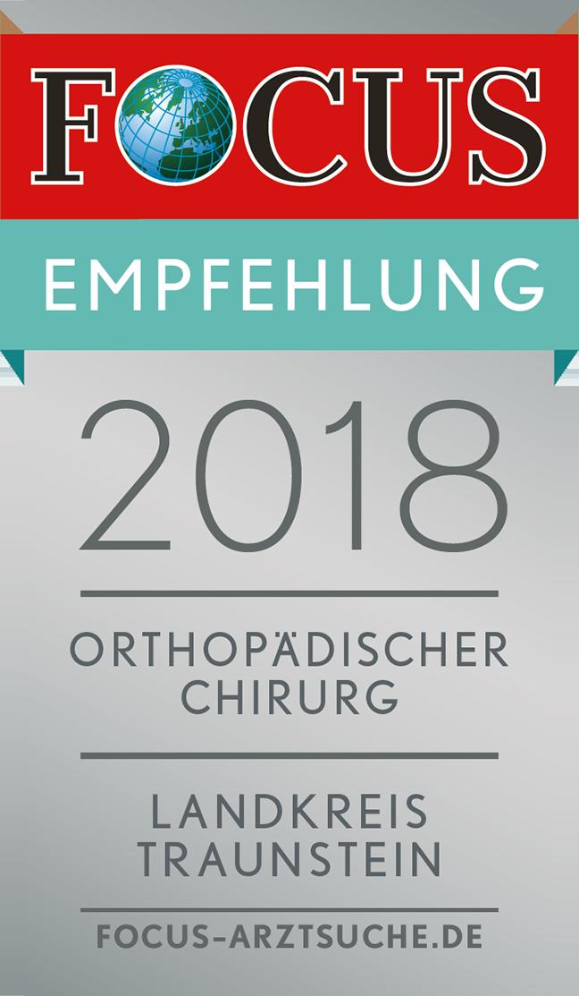 FOCUS-Empfehlungssiegel 2018 für Dr. med. Stefan Mengel