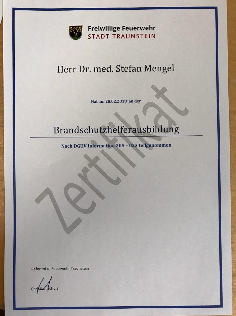 Dr.Mengel-Kommedico_Brandschutzhelferausbildungszertifikat