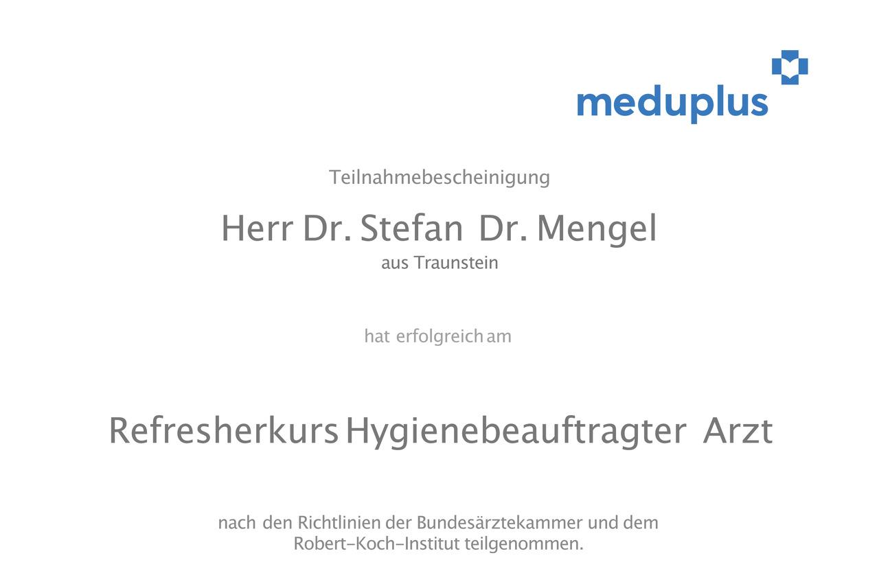 meduplus Zertifikat Refresherkurs Dr. Stefan Mengel